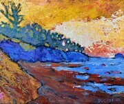 DUCOTE, Craddock Beach, acrylic on wood cradle. SOLD