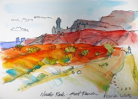 DUCOTE, Needle Rock at Ghost Ranch, watercolour on paper