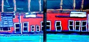 "DUCOTE; Reflections; diptych; acrylic on canvas; 16x16"" x 2; SOLD"
