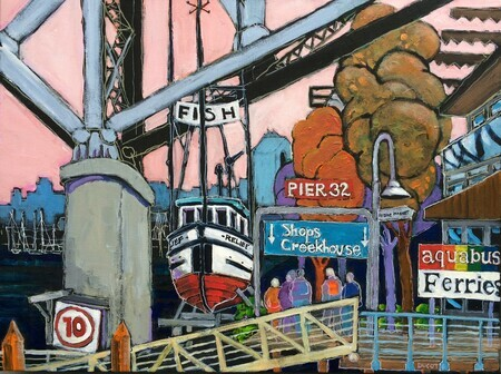 "DUCOTE; Relief at Granville Island; acrylic on canvas; 18 x 24""SOLD"