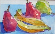 DUCOTE; Still Life, bananas and pears, ink and watercolour on paper