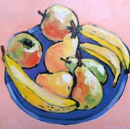DUCOTE; Still Life with Blue Bowl; acrylic on canvas, framed; 16x16""