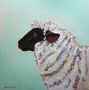 "DUCOTE; The Ethereal Ewe; acrylic on canvas, unframed 24x24"" available"