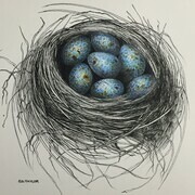 TAYLOR; A Nest for Karen, ink and watercolour on paper Private Collection