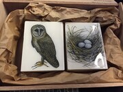 "TAYLOR; A Pending Parliament of Owls; ink drawing on paper mounted on wooden cradles, finished with resin; diptych; 4"" x 6"" SOLD"