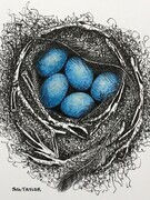 "TAYLOR; ; Hers Was a Downy Nest; ink drawing on paper mounted on wooden cradle, finished with resin; 4"" x 3"" SOLD"