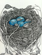 "TAYLOR; ; Small Nest #21; She Was Pleased with Her Creation; ink drawing on paper mounted on wooden cradle, finished with resin; 3""x4"" SOLD"